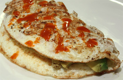 Buffalo Chicken and Avocado Omelet vegetarian peanut butterless low carb breakfast