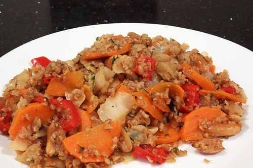Cabbage, Carrot and Peanut Bulgur vegetarian side dish peanut butterless low carb