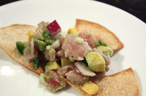 Tuna, Avocado and Sweet Corn Ceviche peanut butterless mexican main course low carb gluten free appetizer
