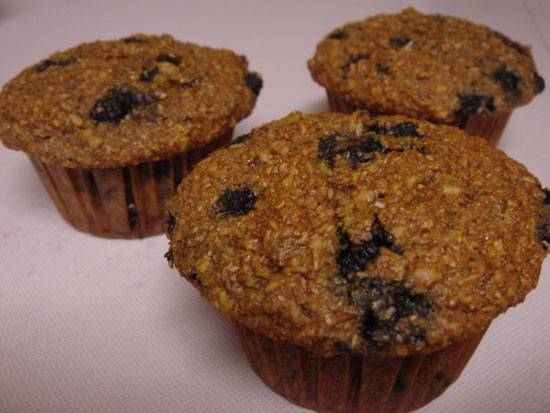 Banana Blueberry Bran Muffins vegetarian snack peanut butter breakfast bakery