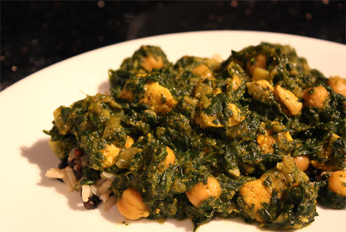 Chicken Chana Saag vegetarian peanut butterless main course gluten free