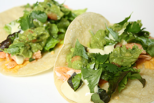 Salmon Tacos with Honey Mustard Sauce peanut butterless mexican main course gluten free