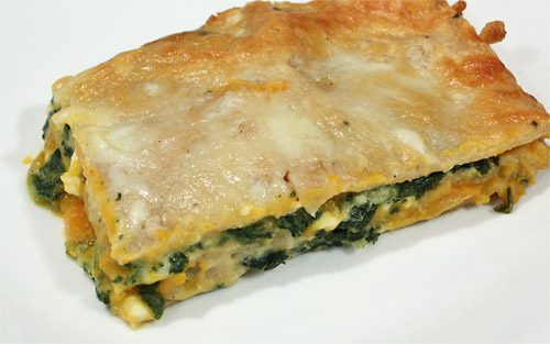 Spinach, Squash and Pine Nut Lasagna vegetarian peanut butterless main course