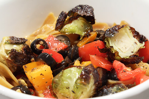 Tomato, Olive and Brussels Pasta vegetarian peanut butterless main course