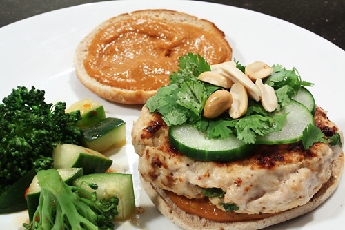 Thai Turkey Burgers and Sweet Chili Salad peanut butter main course