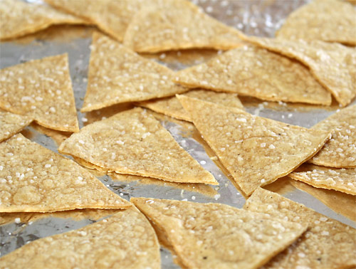 Homemade Tortilla Chips vegetarian snack peanut butterless mexican gluten free