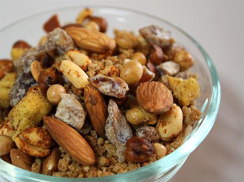 Spicy Honey Mustard Trail Mix vegetarian snack peanut butterless