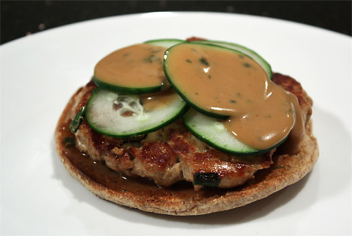 Tuna Burgers with Peanut Dressing peanut butter main course low carb
