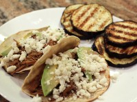 Shredded Beef Tacos and Grilled Eggplant